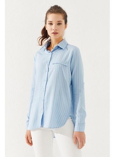 Reyon  Kadın Çizgili Gömlek Beyaz Mavi